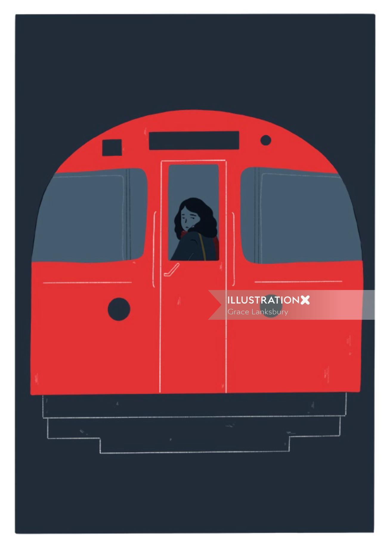 Digital painting of train traveling