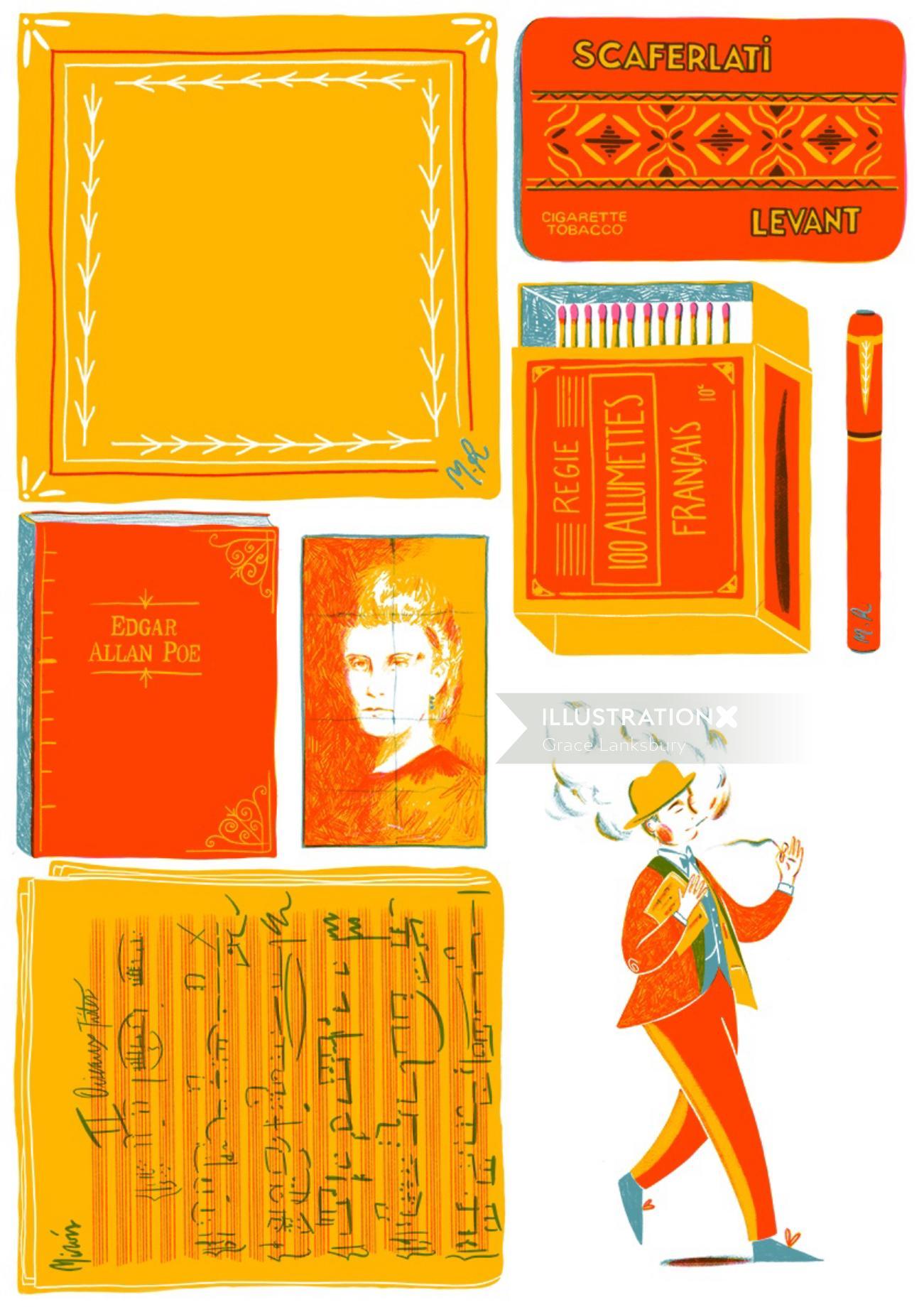 Storyboard illustration of magic show