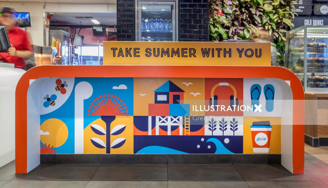 Summer illustration on street wall