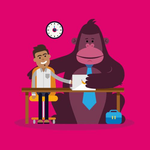 Homem com ilustração gráfica de macaco