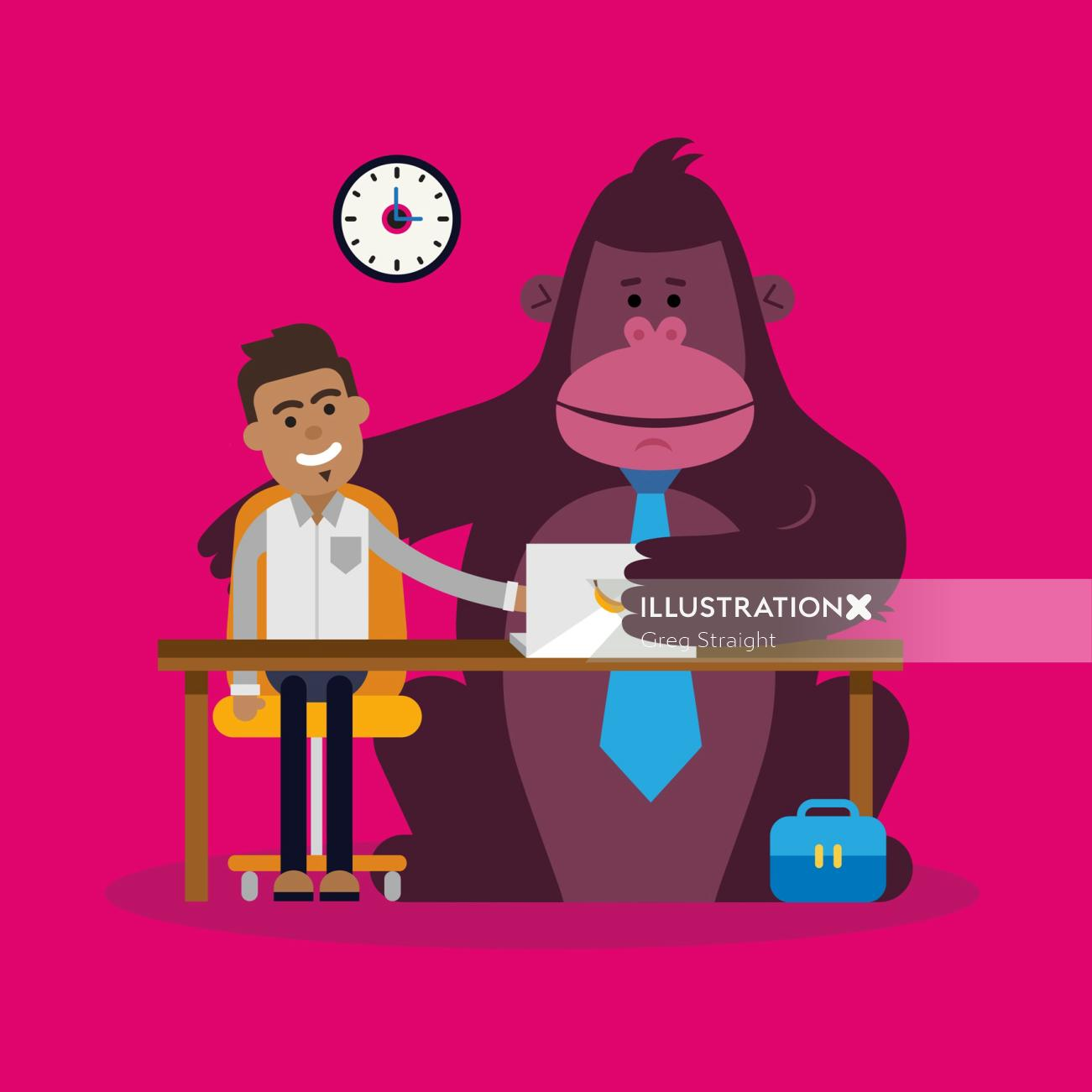 Man with Monkey graphic illustration