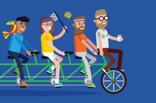 Pessoas de bicicleta personalizadas