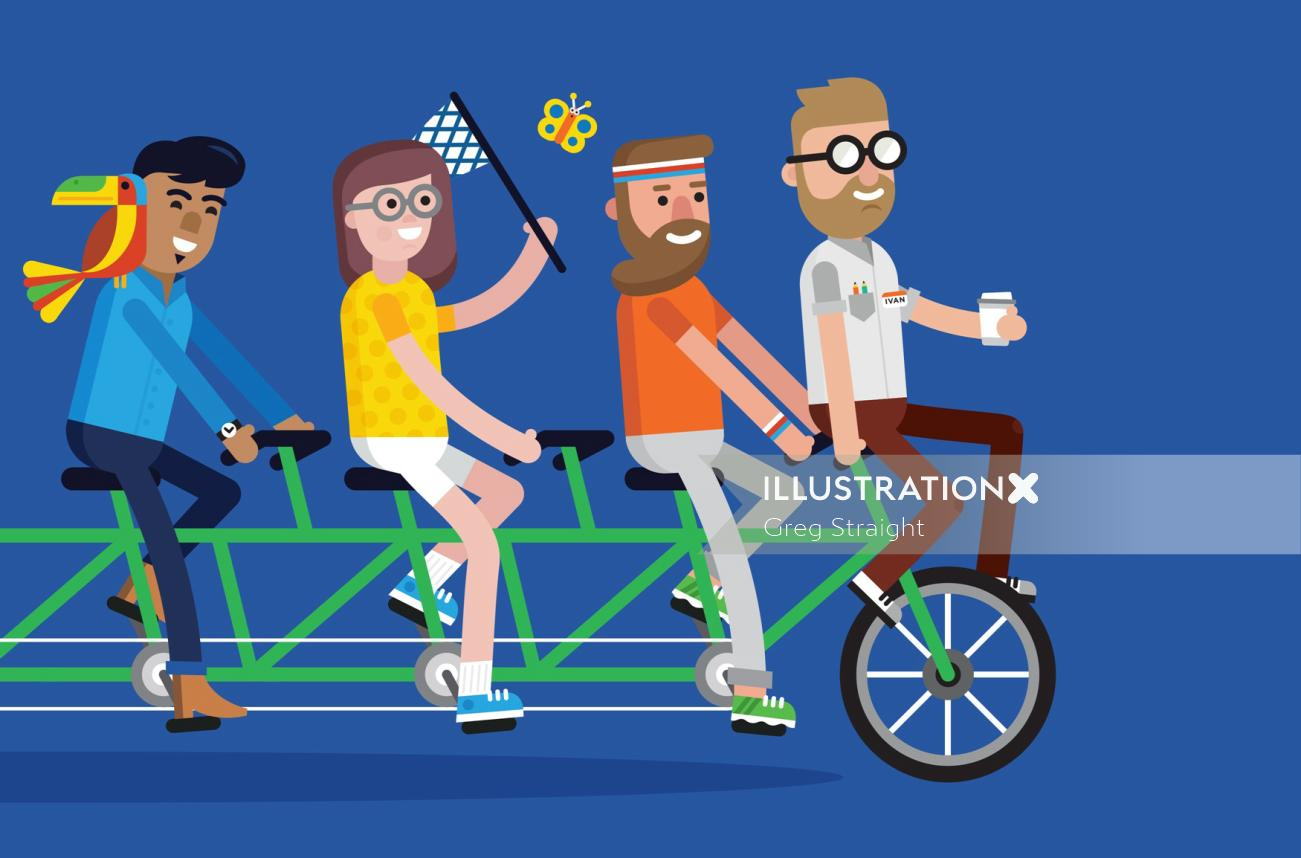 Custom bicycle riding people