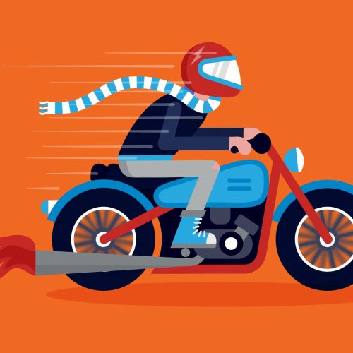 Vector illustration of man riding motorcycle