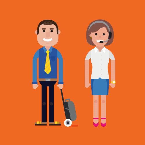 Ilustração em vetor homem e mulher