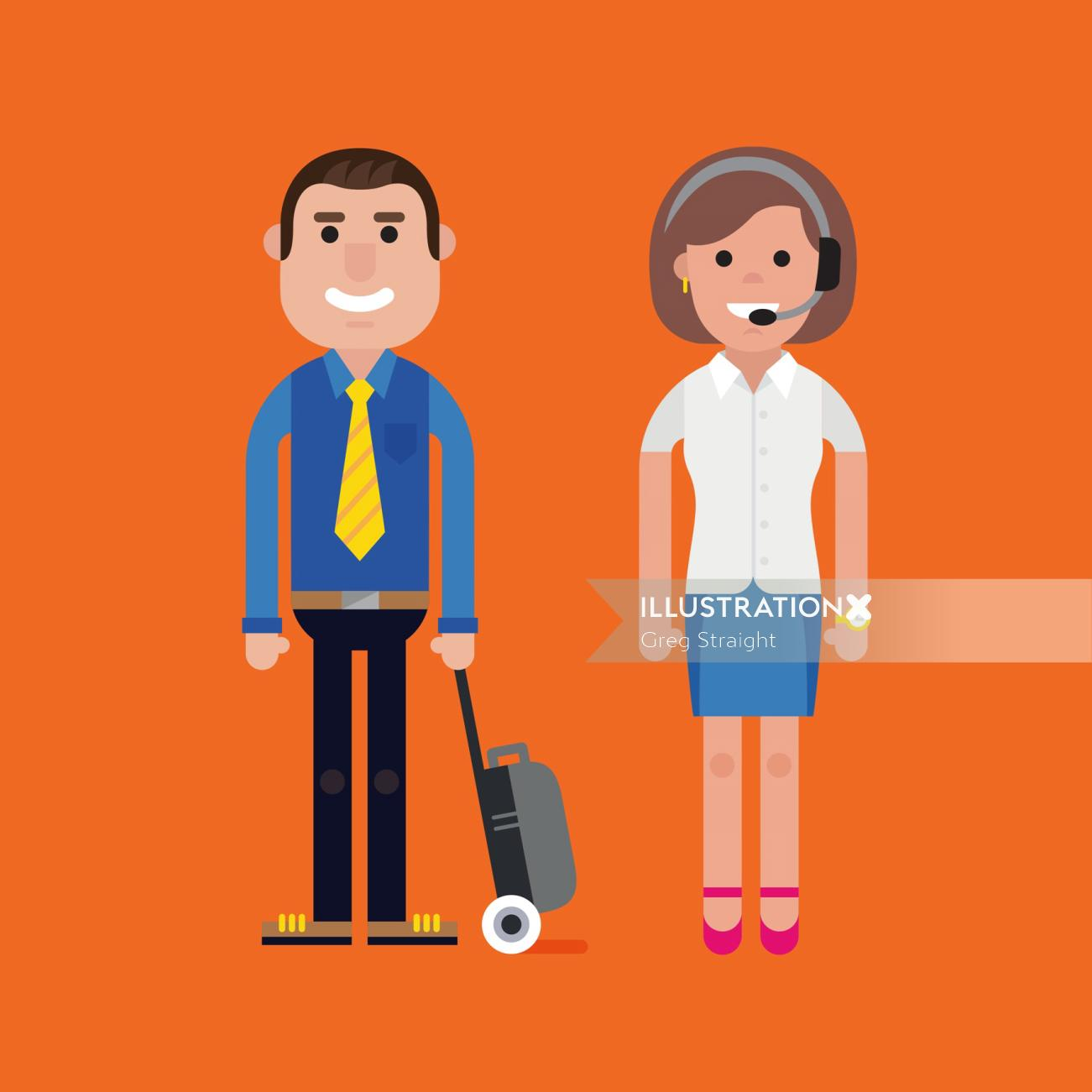 Man and Woman vector illustration