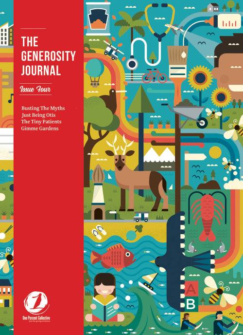 The Generosity Journal magazine cover illustration