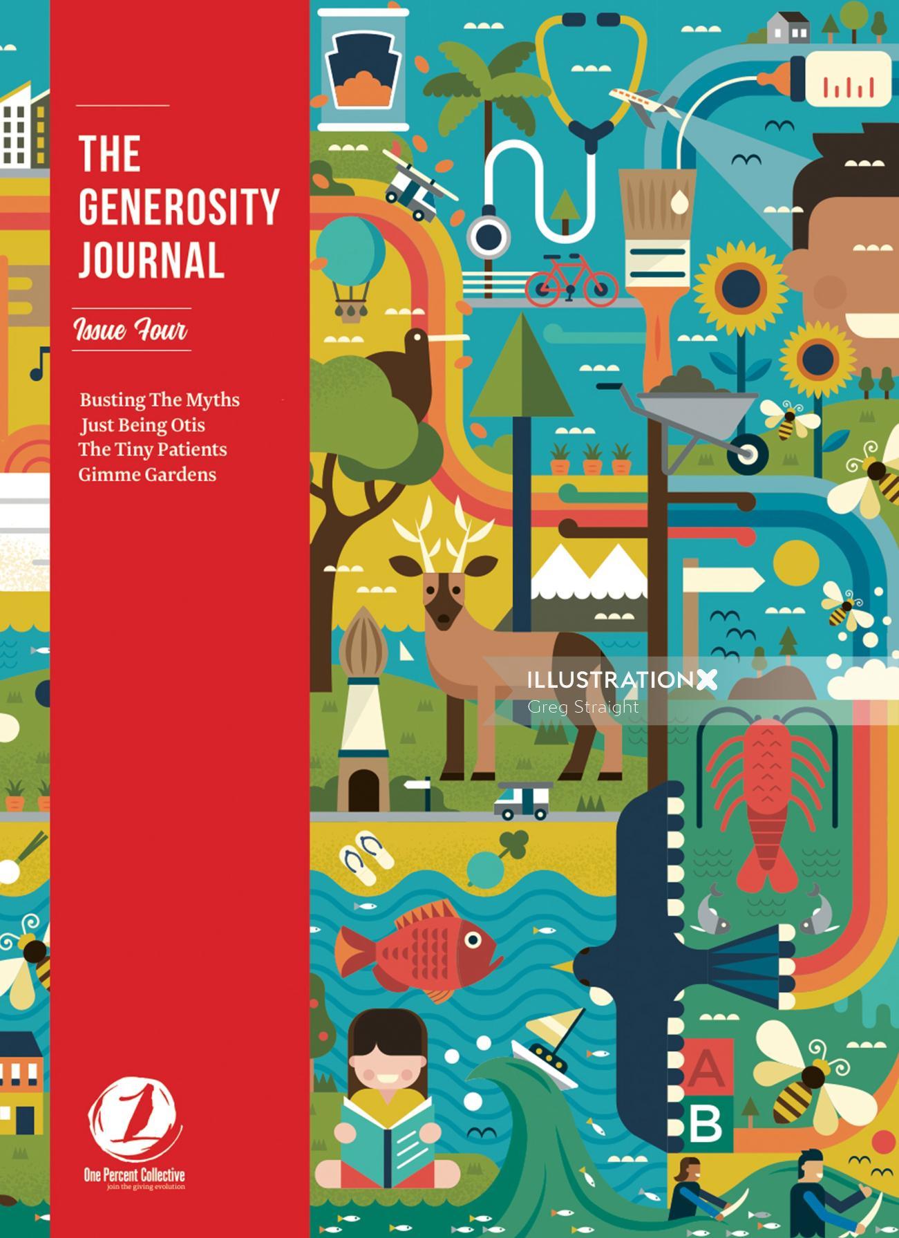 The Generosity Journal magazine cover illustration