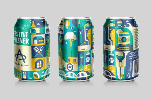 Ilustração sobre lata de bebida gelada por Greg Straight