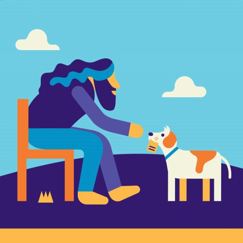 Beautiful illustration of Man loves dog
