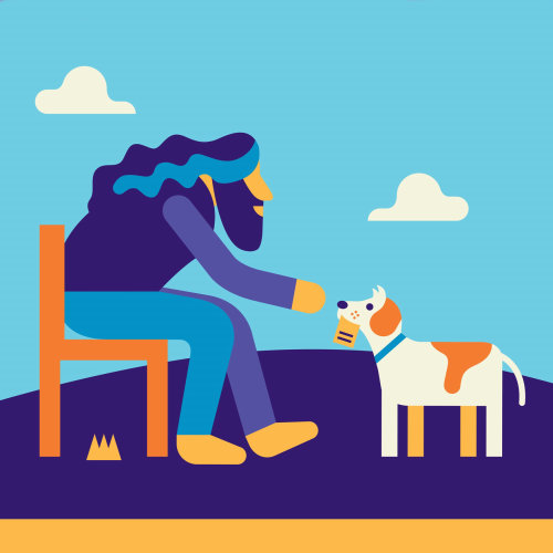 Bela ilustração do homem adora cachorro