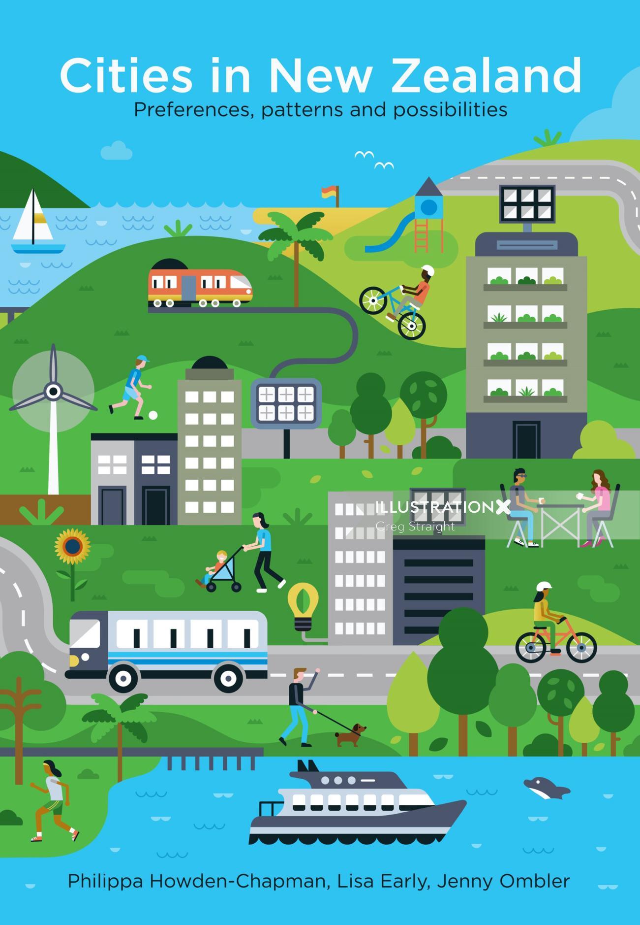 New Zealand city's street Graphic illustration