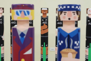 People illustration on airport Bollard