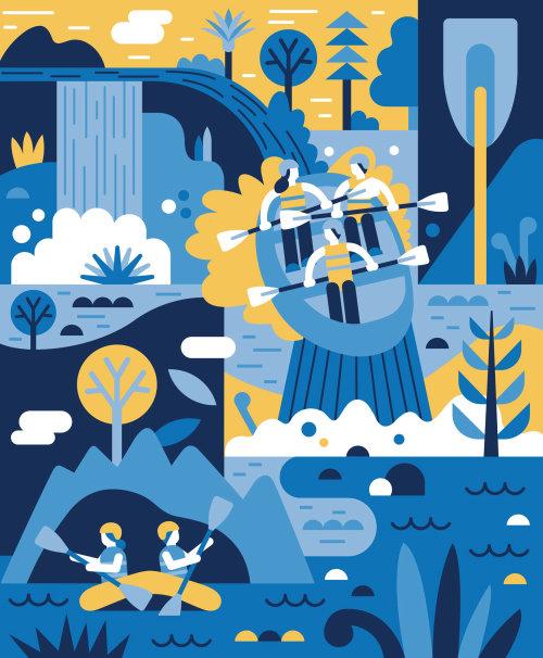 Digital painting of River Rafting