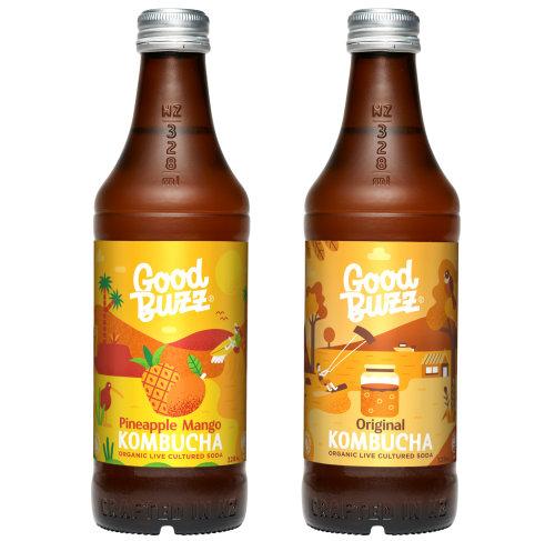 Good Bwzz pineapple mango and original Kombucha packaging illustration