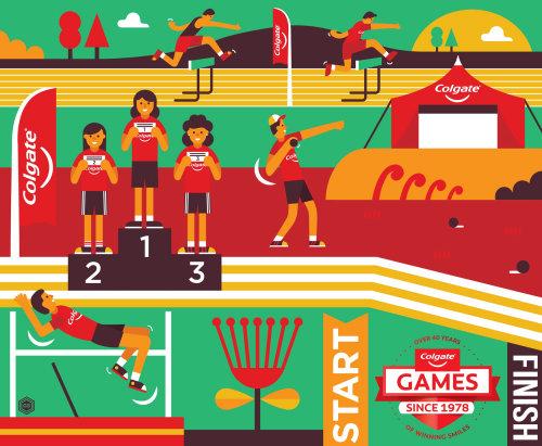 Colgate games advertising illustration