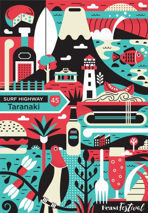 Taranaki feast festival poster illustration