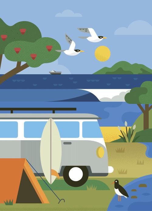 Lakeside graphic illustration