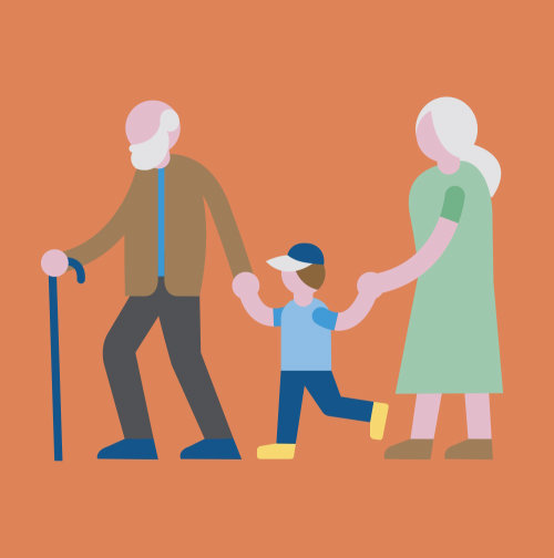Vector design of grandparents walking with boy