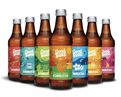Advertising illustration of Good Bwzz Kombucha