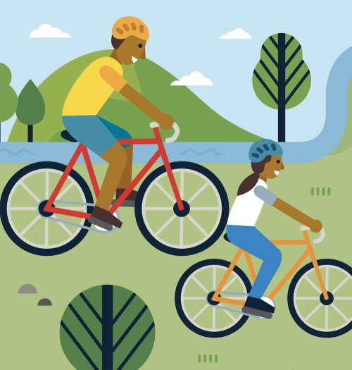 Graphic design of people riding bicycle