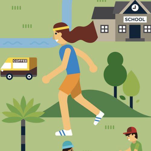 Girl running in a school park