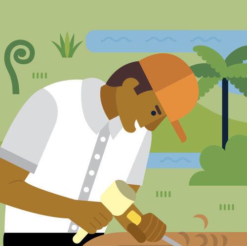 Editorial illustration of carpenter working on wood