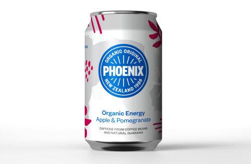 Packaging of Phoenix Organic Energy drinks