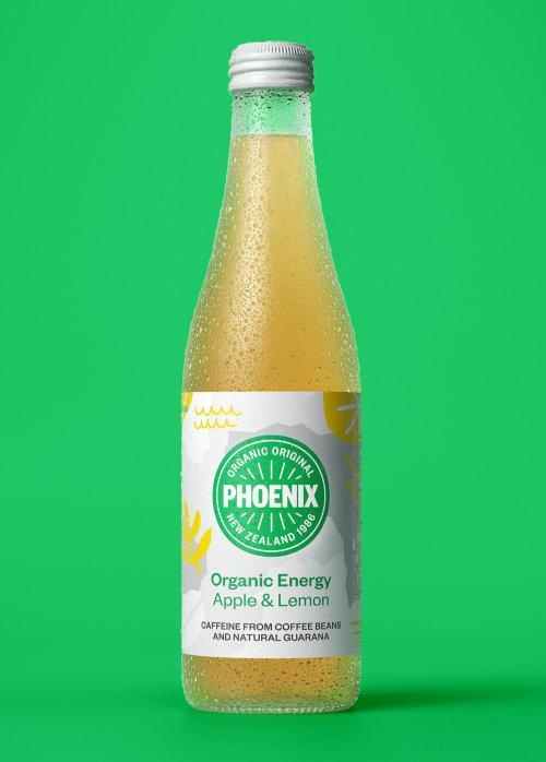 Phoenix Organic,  Apple & Lemon flavor Energy drink