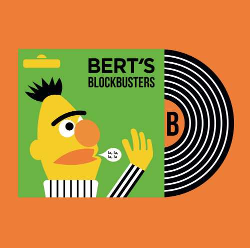 Bert's blockbusters album cover illustration