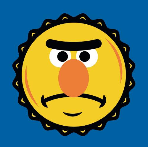 Sesame Street Bret's bottle cap illustration