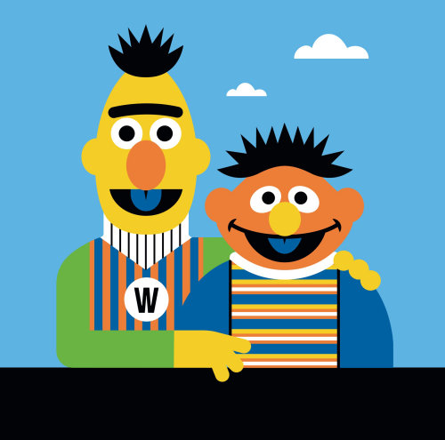 Animation illustration of Muppets Bert and Ernie