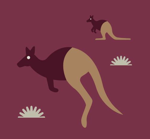 Digital painting of animal Kangaroo