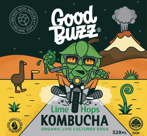 Good Buzz Lime Hops Kombucha label illustration