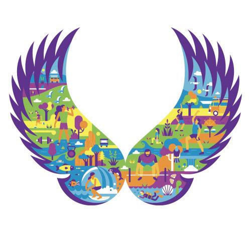 Wing theme athletic sports illustration