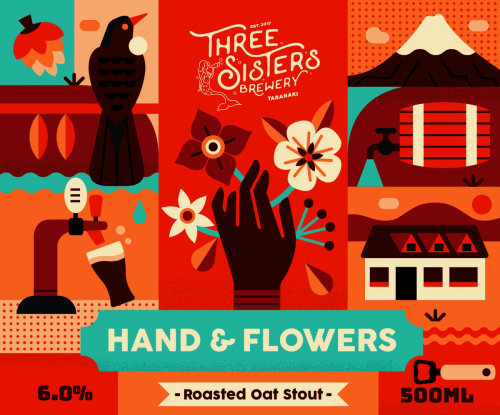 Label illustration of Three Sisters Brewery