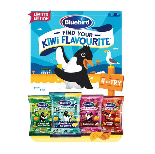 Blue Bird kiwi flavourite chips advertising poster