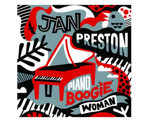 CD cover illustration of Jan Preston. Piano Boogie Woman