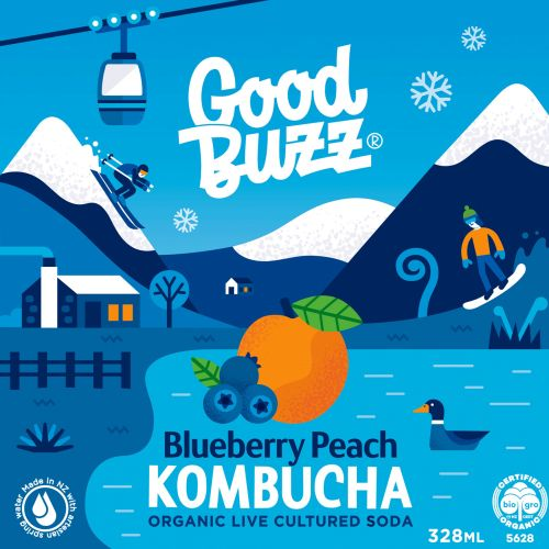 Blueberry Peach Kombucha advertising illustration