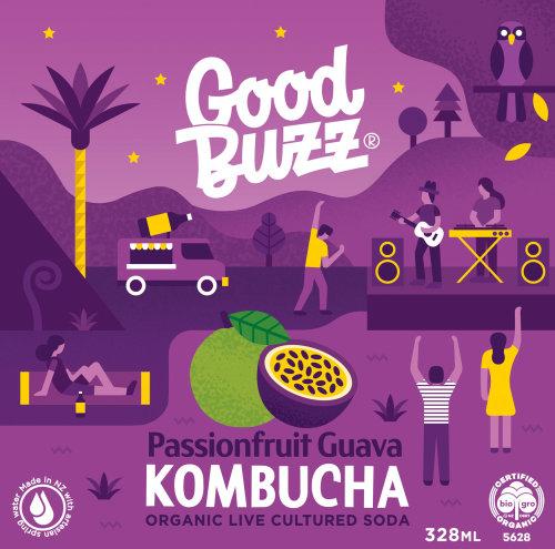 Good Bwzz Passionfruit Guava Kombucha poster illustration