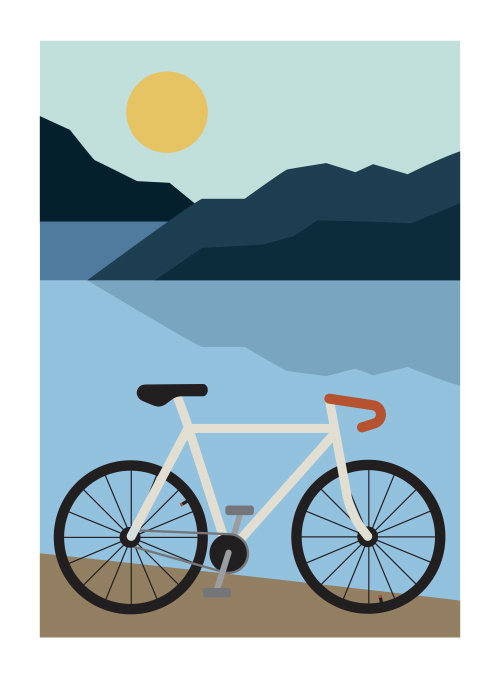 Illustration of bicycle ride at Lakeside
