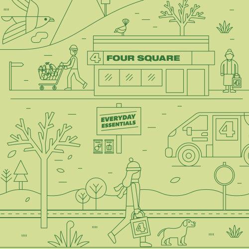 Map illustration of Four Square supermarket NZ