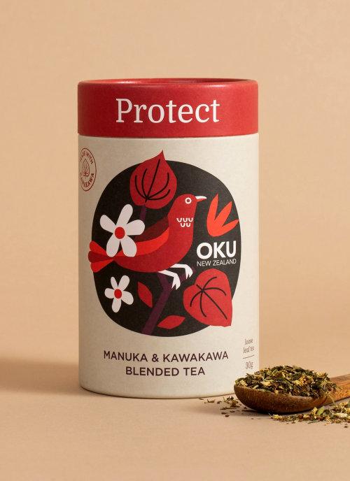 Packaging illustration of Manuka & Kawakawa blended tea