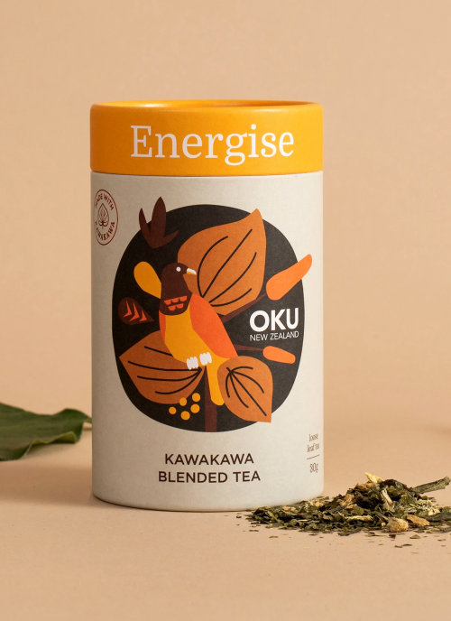 Kawakawa Blended Tea packaging illustration
