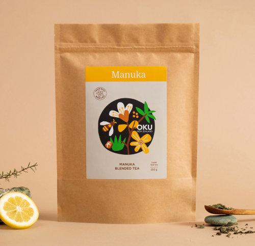 Oku & Manuka Blended 150g loose leaf tea packaging design