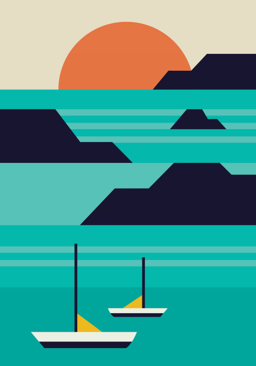 Abstract Sun, Mountains and boats illustration