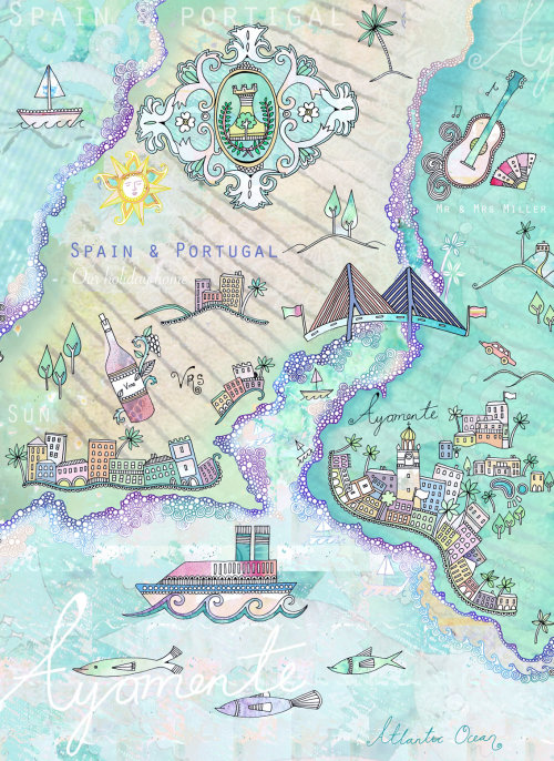 Decorative Map Spain & Portugal