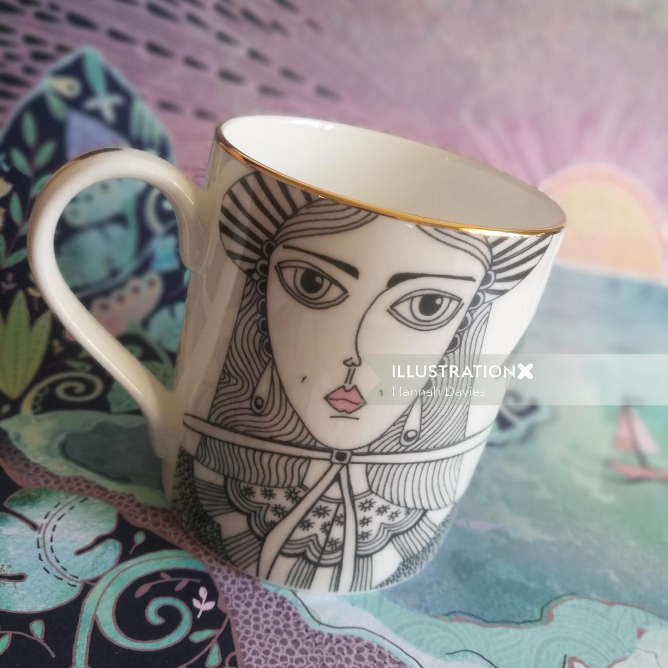 Decorative coffee cup