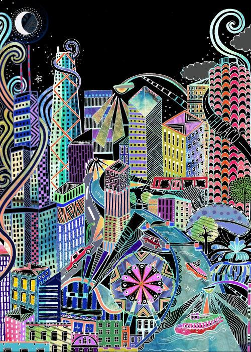 Fashion city illustration