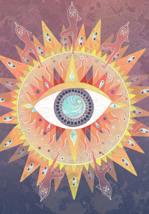 GraphicYoga poster with open eye